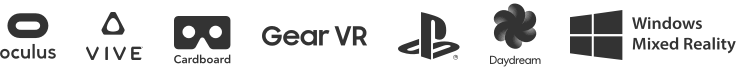 Oculus, Vive, Google Cardboard, Gear VR, Playstation VR, Daydream, Windows Mixed Reality